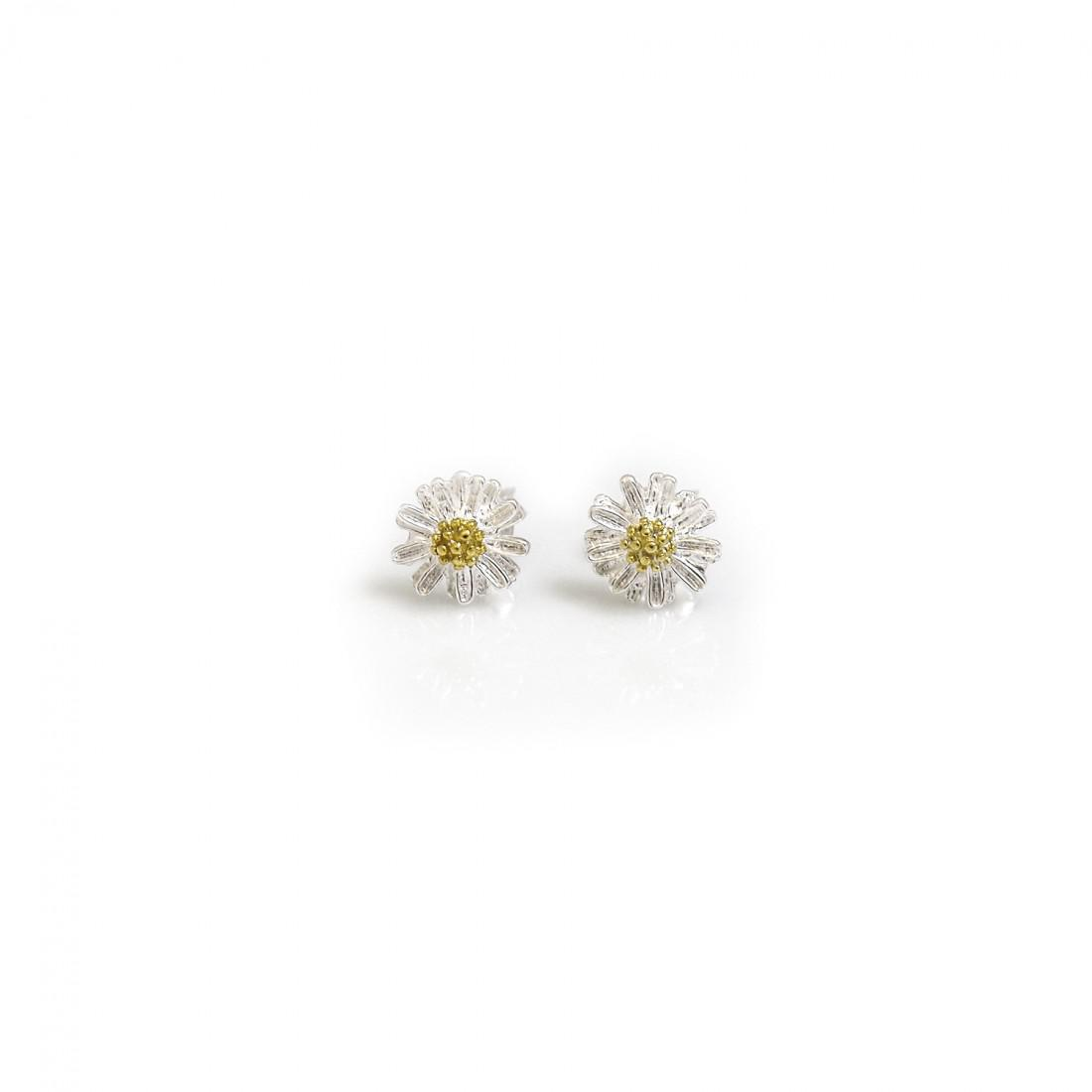 Sterling Silver & 9ct Gold Vermeil Daisy Stud Earrings