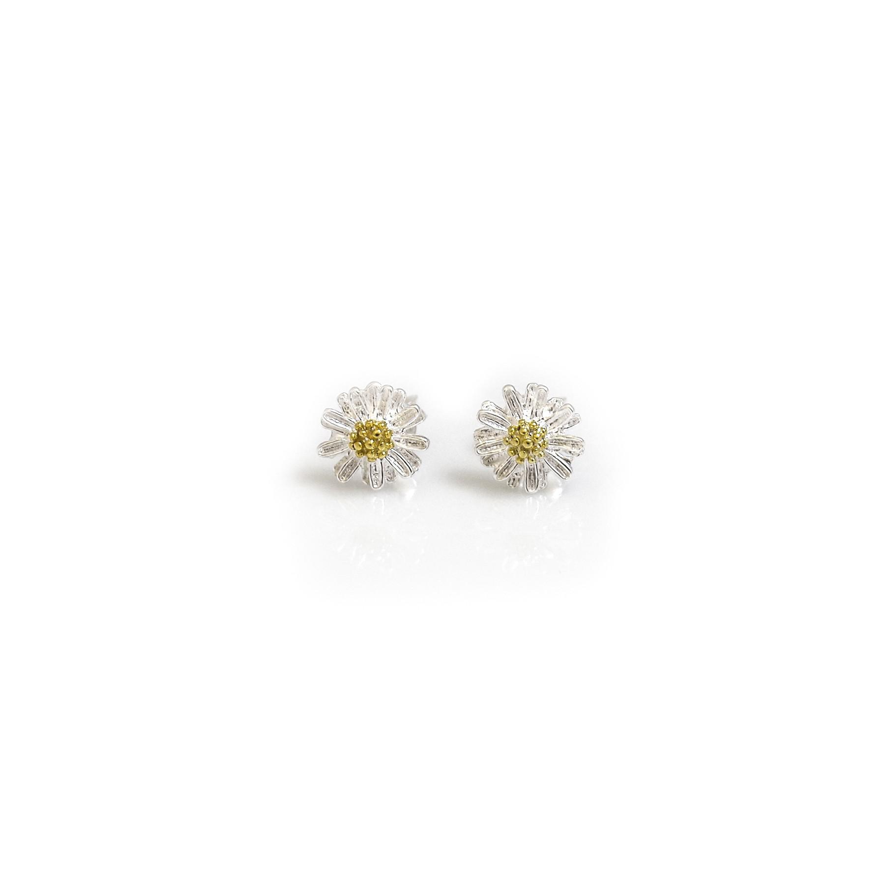 403fc9e67 Sterling Silver & 9ct Gold Vermeil Daisy Stud Earrings. Loading zoom