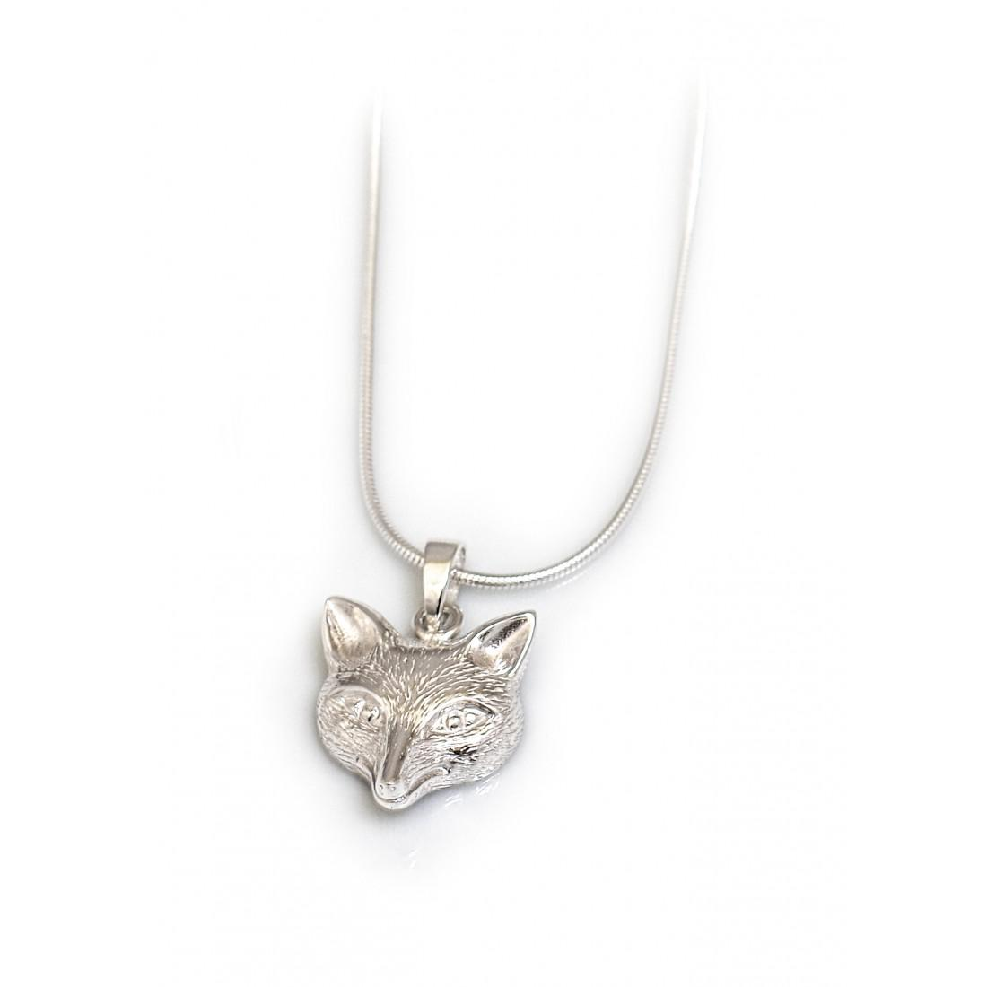 Sterling Silver 3d Fox Pendant With Sterling Silver Chain