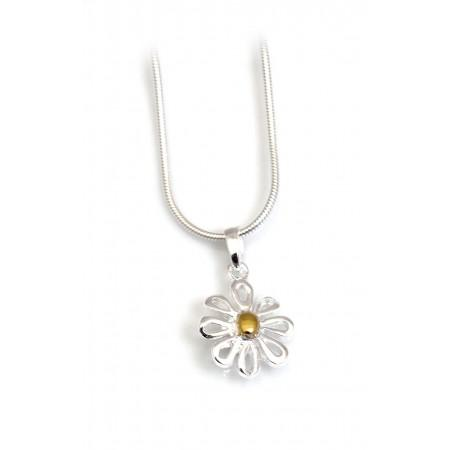 Sterling Silver & 9ct Gold Vermeil Open Daisy Pendant With Chain