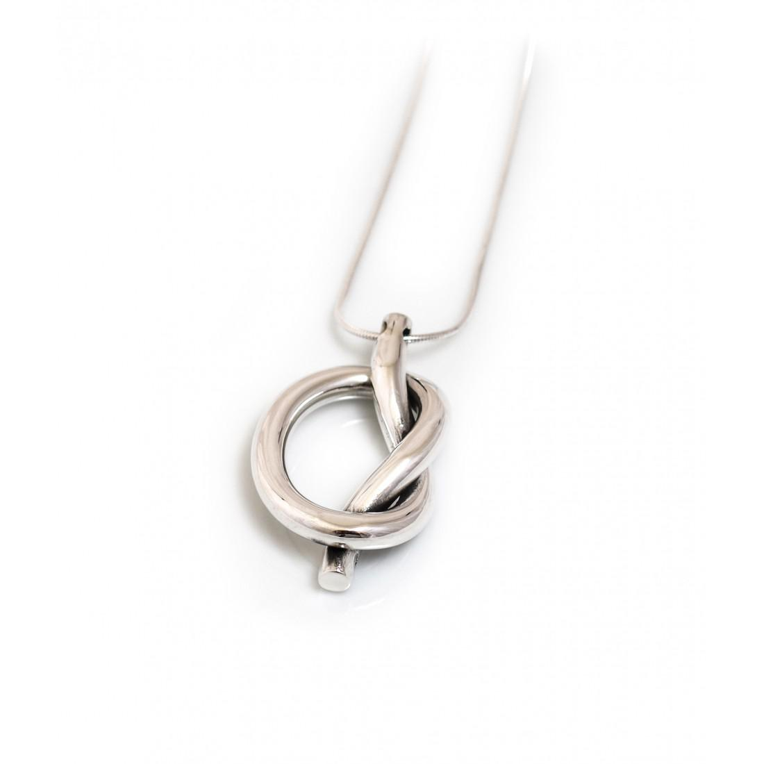 Sterling Silver Chunky Knot Pendant With Silver Chain