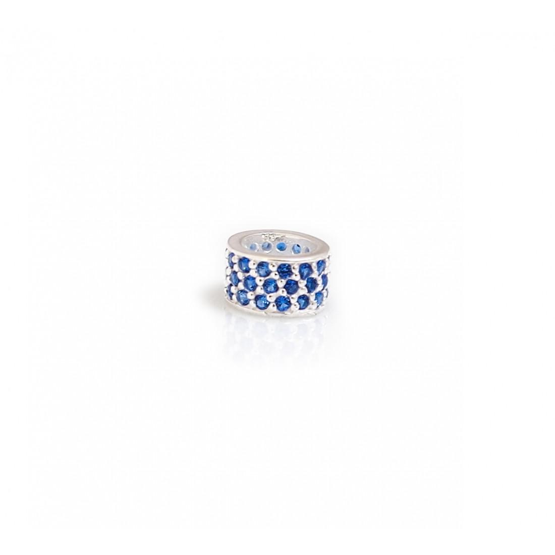 Exclusive Sterling Silver & Sapphire Blue Starlight Roller Charm Bead