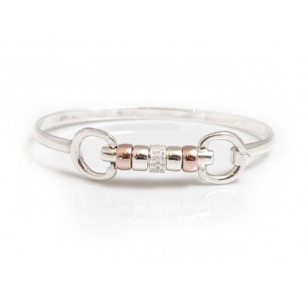 Exclusive Sterling Silver   18ct Rose Gold Plate Cherry Roller Snaffle  Bangle With CZ Starlight Roller Bead 6712b9d10