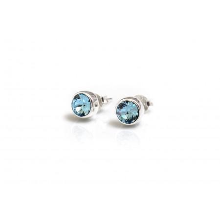 March Birthstone - Sterling Silver & Aquamarine Stud Earrings