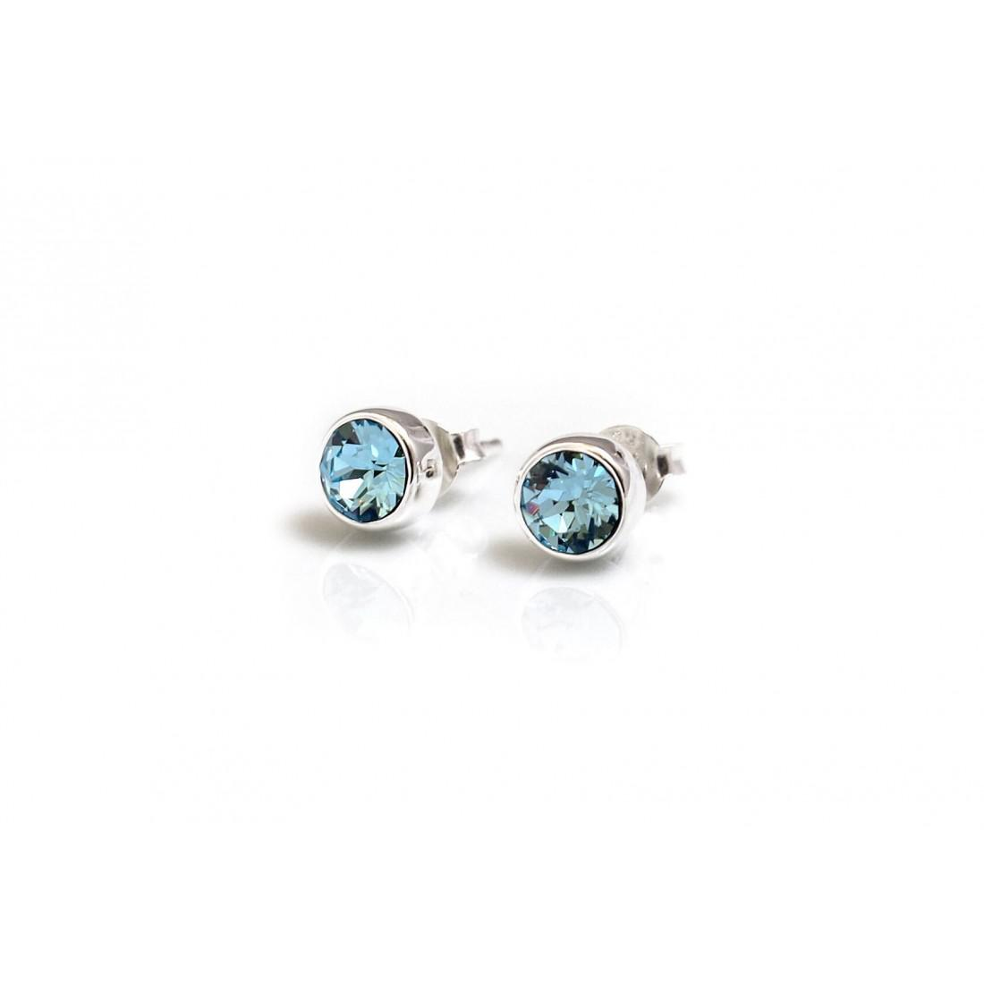 March Birthstone - Sterling Silver & Aquamarine Stud Earrings