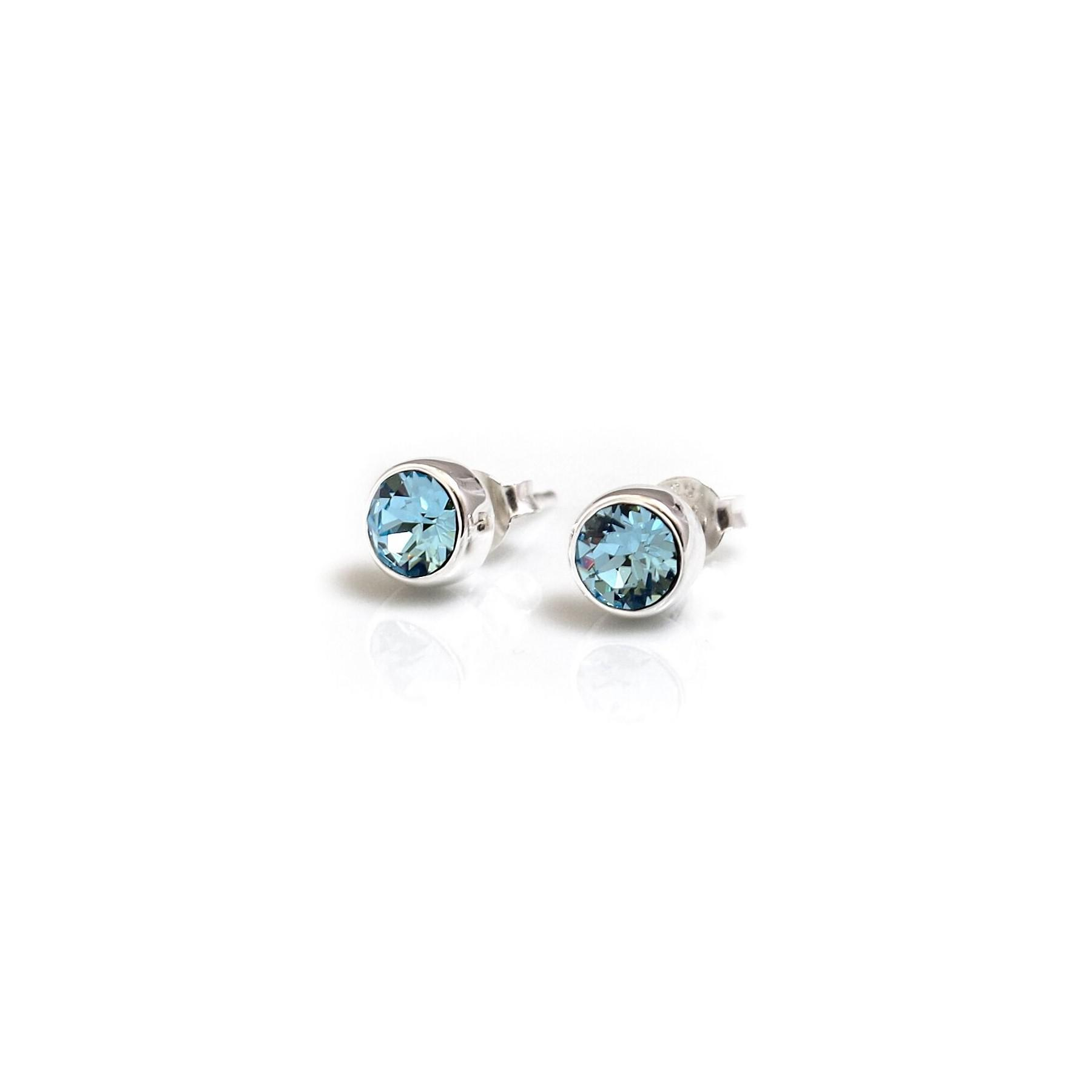 white vian lyst silver s jewelry diamond marine octagon gold metallic women le aqua stud aquamarine earrings