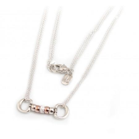 Exclusive Sterling Silver & 18ct Rose Gold Plate Cherry Roller Snaffle Necklace With CZ Starlight Roller Charm Bead