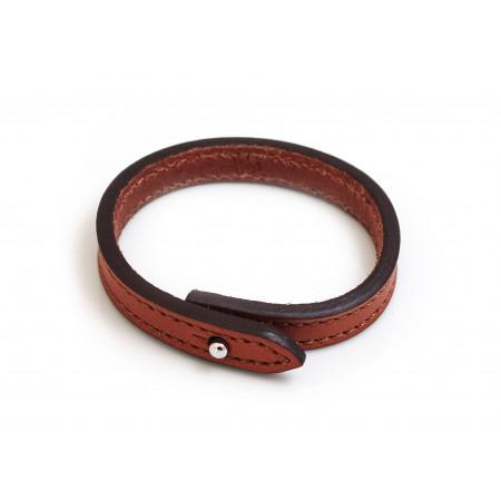 Russet Brown Single Leather Bracelet