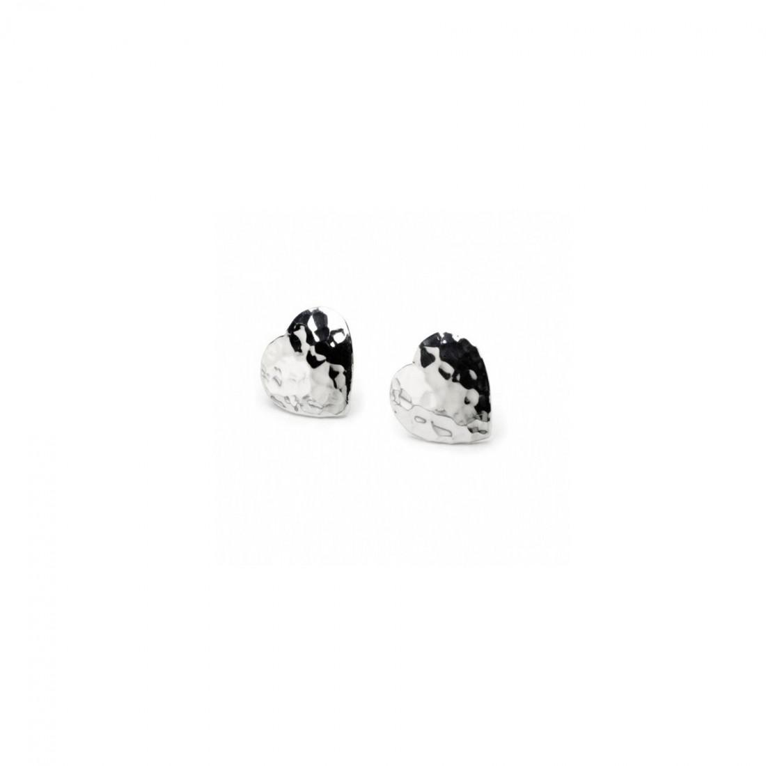 Sterling Silver Hammered Heart Studs