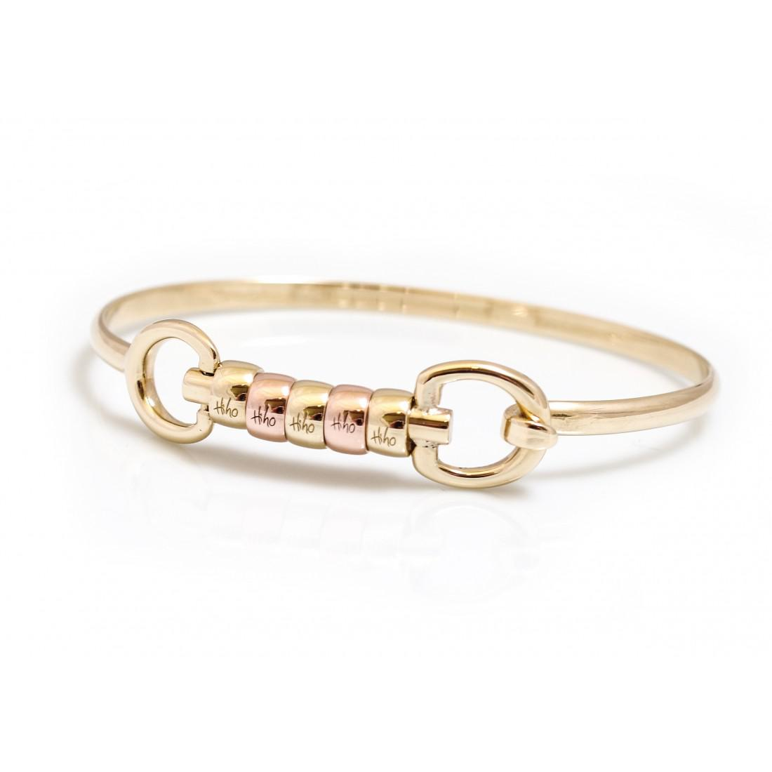 Exclusive Solid 9ct Yellow Gold And Rose Gold Cherry Roller Snaffle Bangle