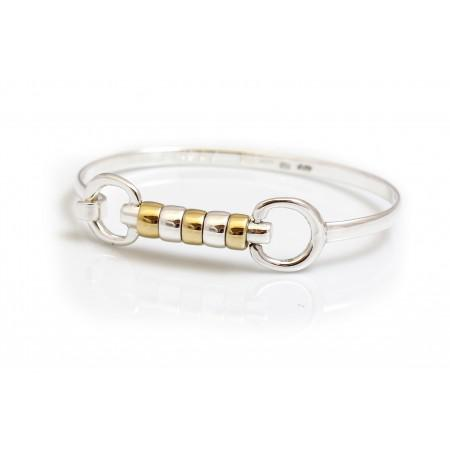 Exclusive Sterling Silver & 18ct Gold Vermeil Cherry Roller Snaffle Bangle - Equestrian Jewellery