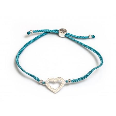 Sterling Silver Hammered Heart Friendship Bracelet