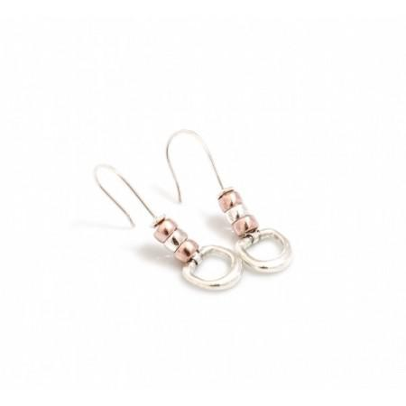 Exclusive Sterling Silver & 18ct Rose Gold Plate Cherry Roller Snaffle Earrings