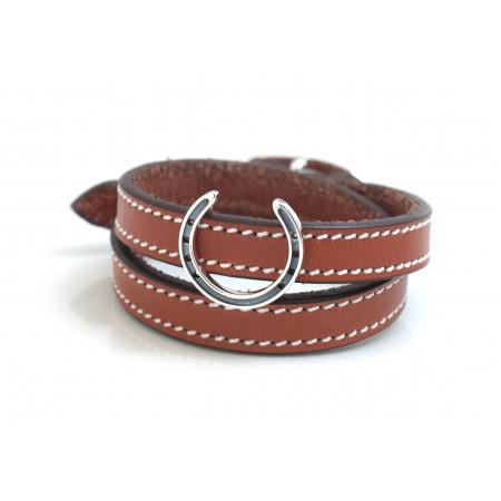 Sterling Silver Horseshoe On Russet Brown Double Wrap Leather Bracelet