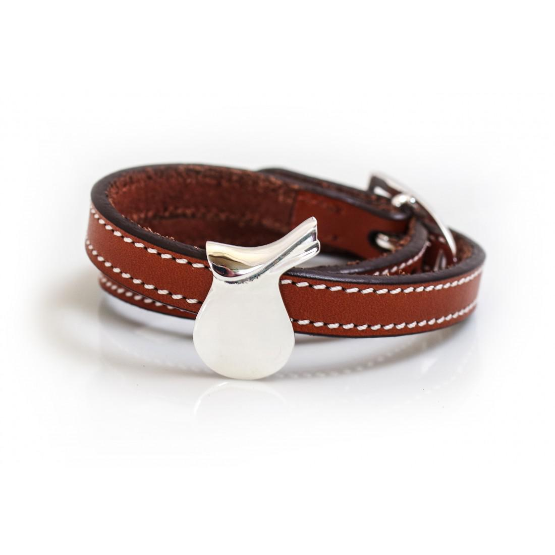 Sterling Silver Saddle On Russet Brown Double Wrap Leather Bracelet