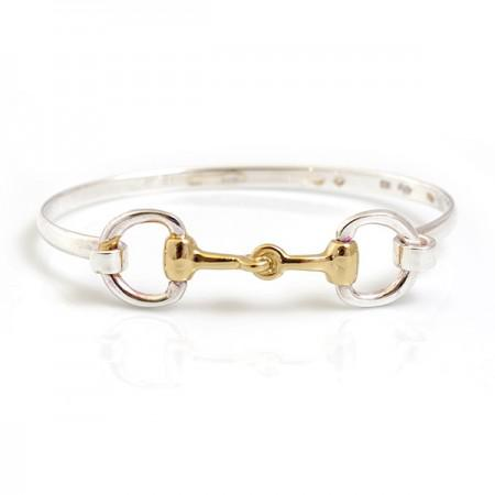 Exclusive Sterling Silver & 18ct Gold Plate Double Snaffle Clip Bracelet