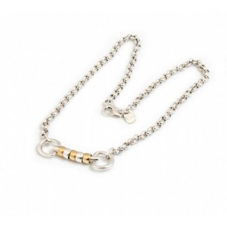 Exclusive Sterling Silver & 18ct Gold Plate Classic Cherry Roller Snaffle Necklace