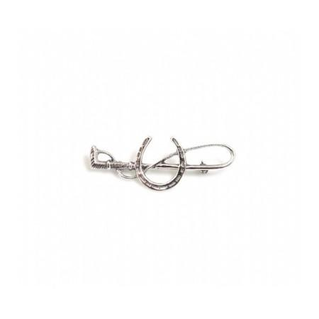 Sterling Silver Horseshoe & Crop Stock Pin