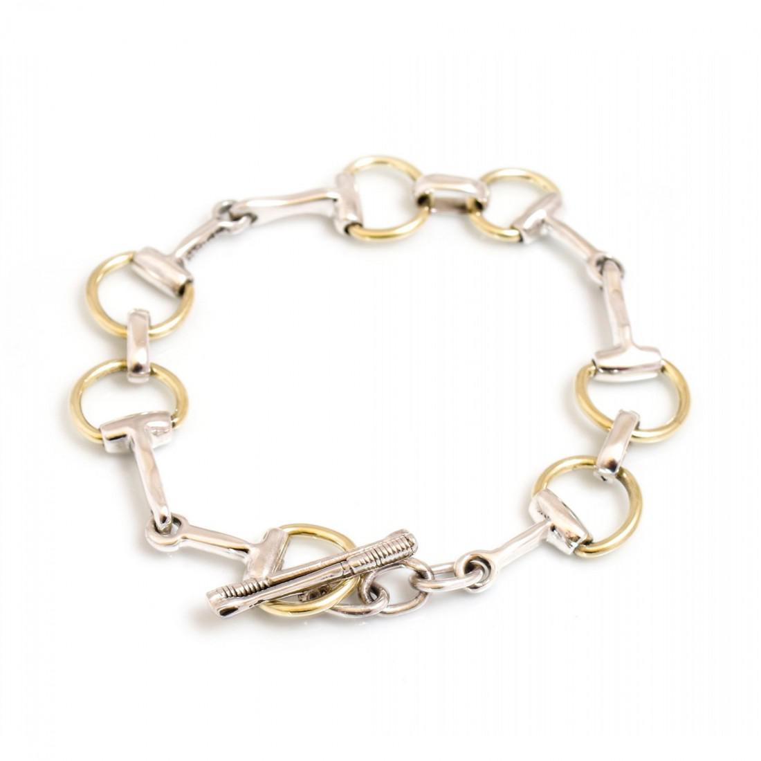 Two Tone Sterling Silver Snaffle Bracelet