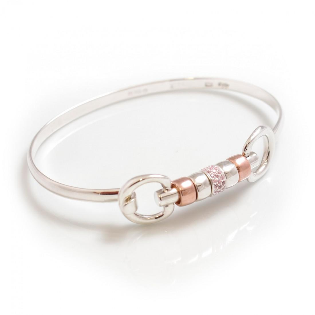 Exclusive Sterling Silver & 18ct Rose Gold Plate Cherry Roller Snaffle Bangle With Pink CZ Starlight