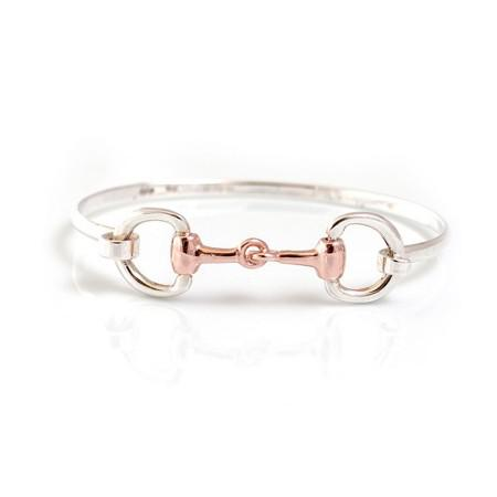 6c65cf536 Exclusive Sterling Silver & 18ct Rose Gold Plate Double Snaffle Bracelet