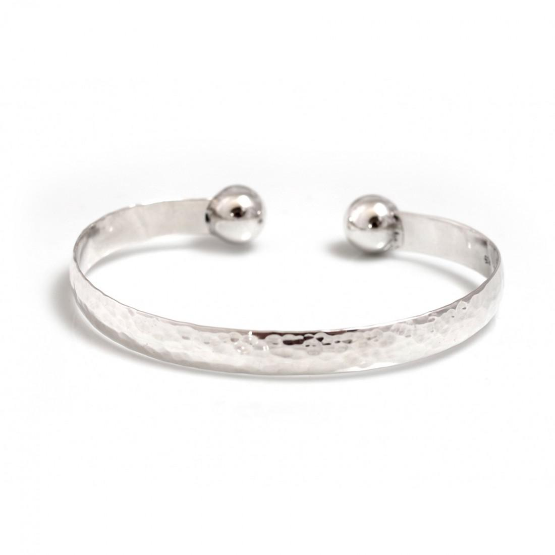 Sterling Silver Ball & Hammered Cuff Bangle