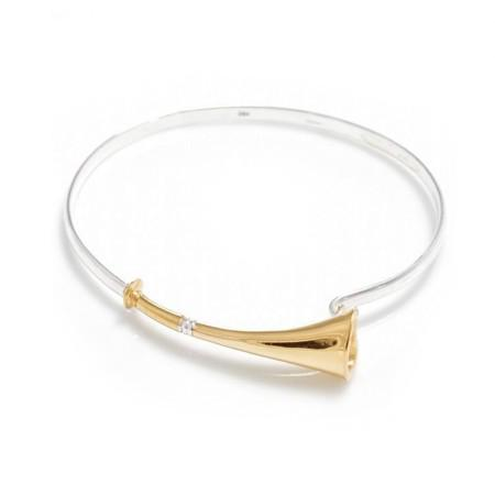 Exclusive Sterling Silver & 18ct Gold Plate Hunting Horn Bangle