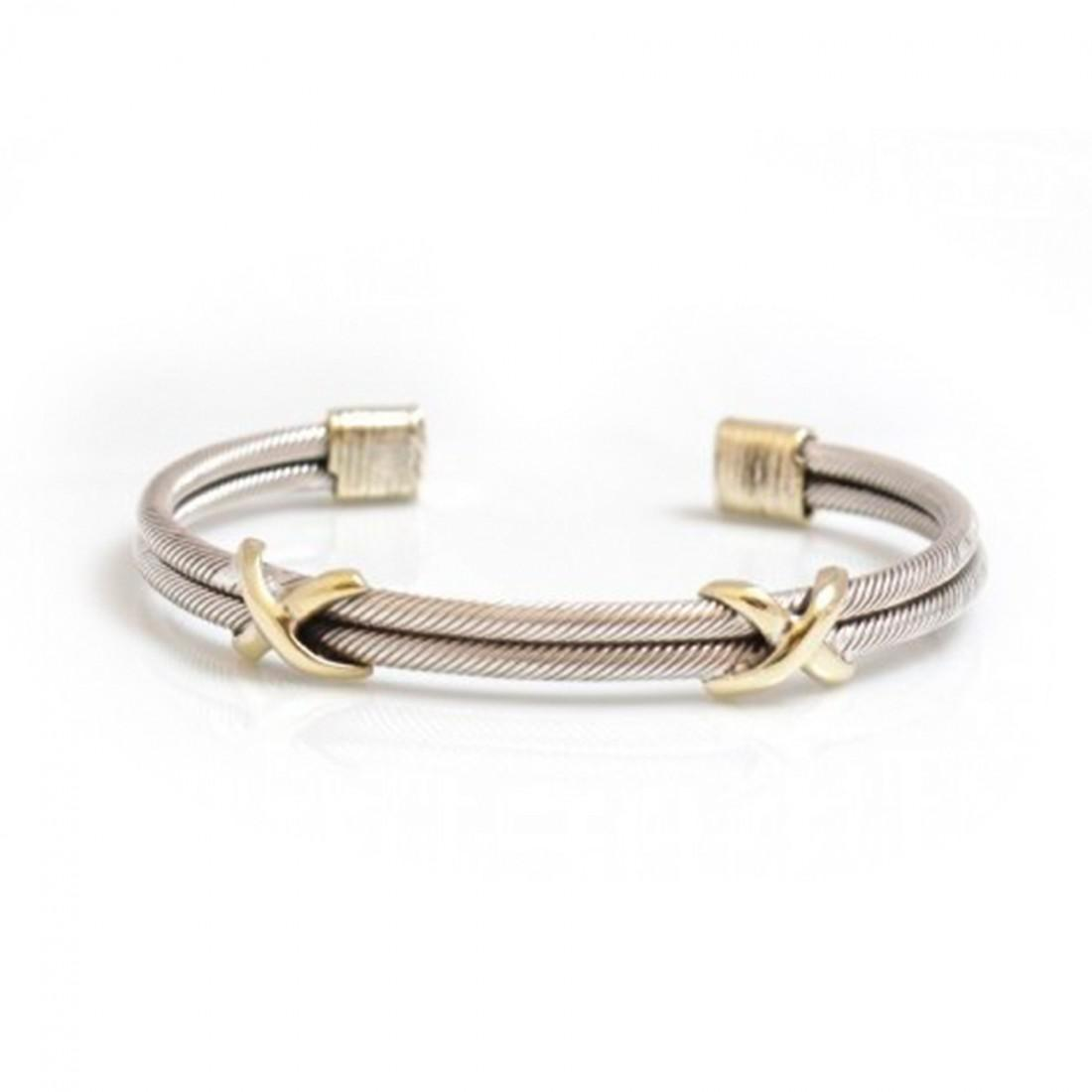 Sterling Silver And Two Tone Criss Cross Cuff Bracelet