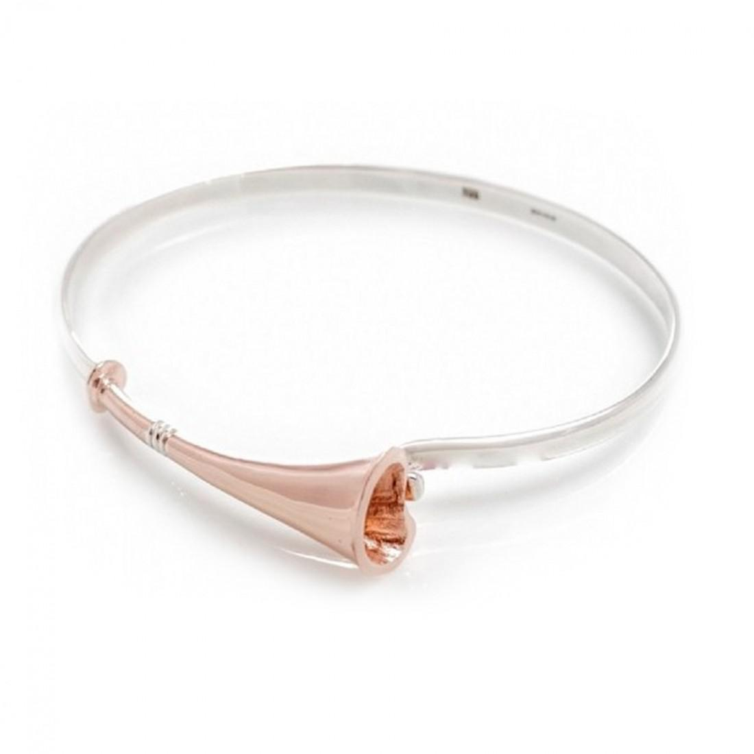 Exclusive Sterling Silver & 18ct Rose Gold Plate Hunting Horn Bangle