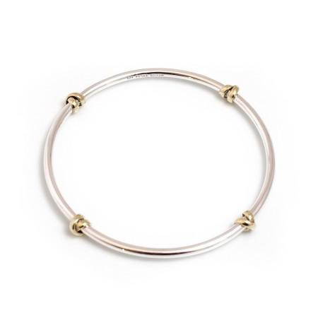 Sterling Silver And Two Tone Knot Bangle