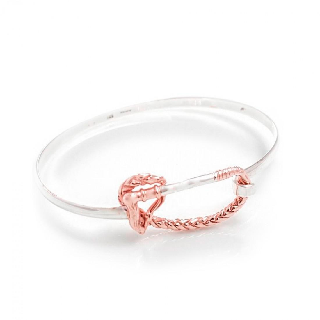 Exclusive Sterling Silver & 18ct Rose Gold Plate Whip Bangle