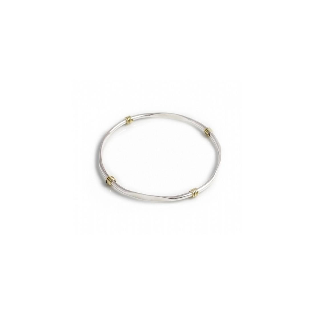 Sterling Silver & Two Tone Flat Edged Bangle