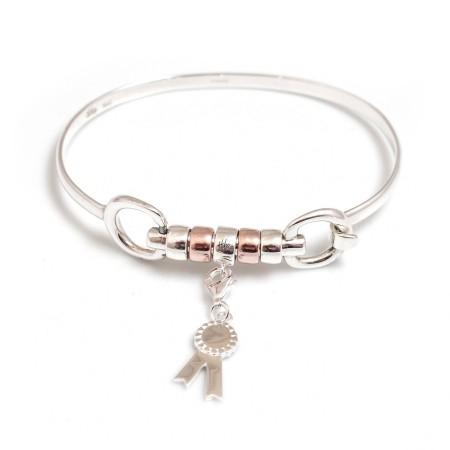 Exclusive Sterling Silver & 18ct Rose Gold Vermeil Cherry Roller Snaffle Bangle With Charm Carrier