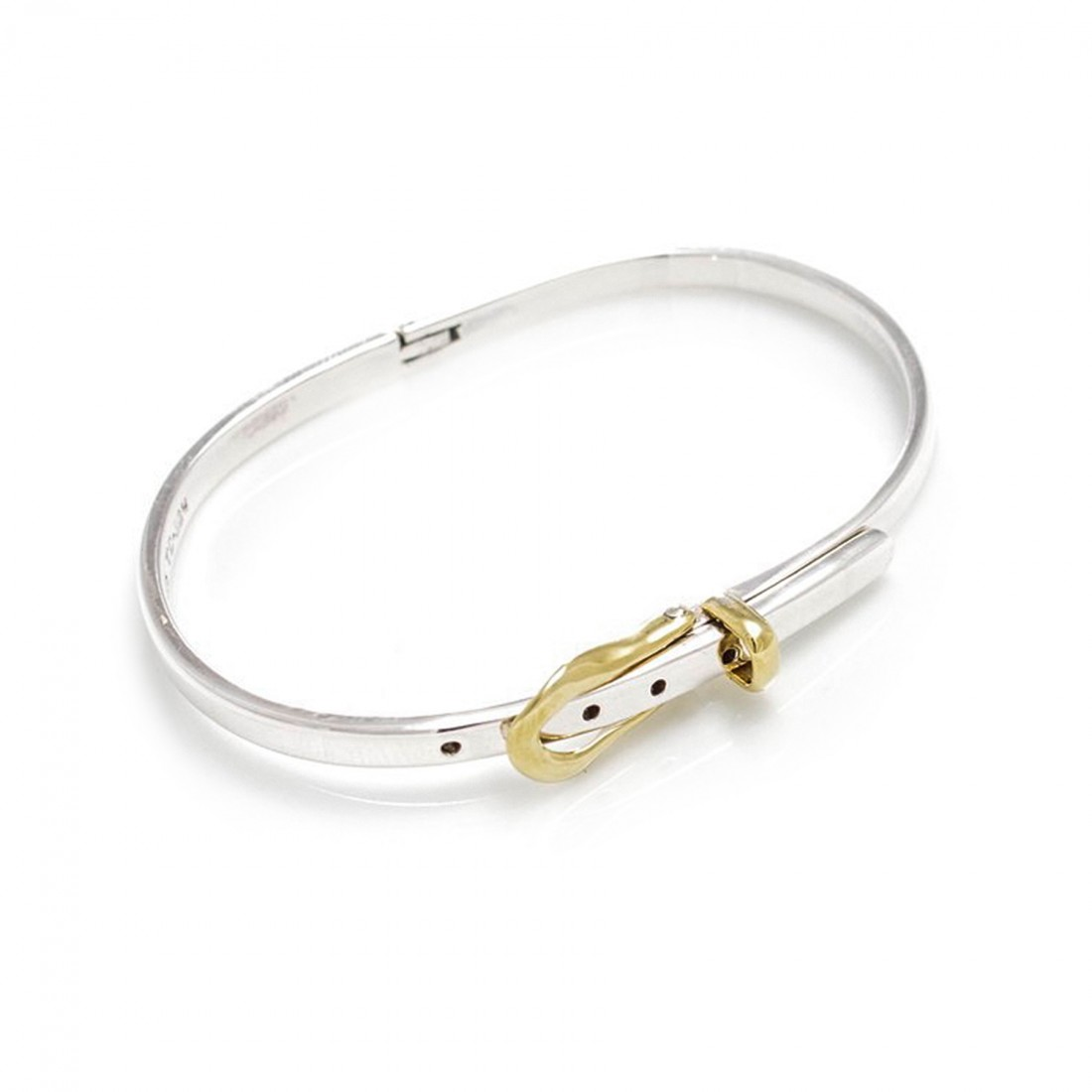 Sterling Silver And Two Tone Belt Buckle Bangle