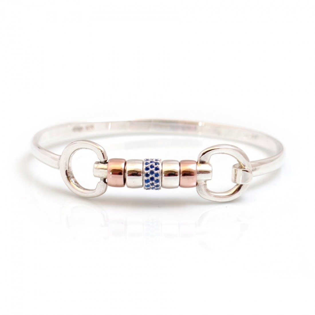 Exclusive Sterling Silver & 18ct Rose Gold Plate Cherry Roller Snaffle Bangle With Sapphire Blue CZ Starlight Roller Bead