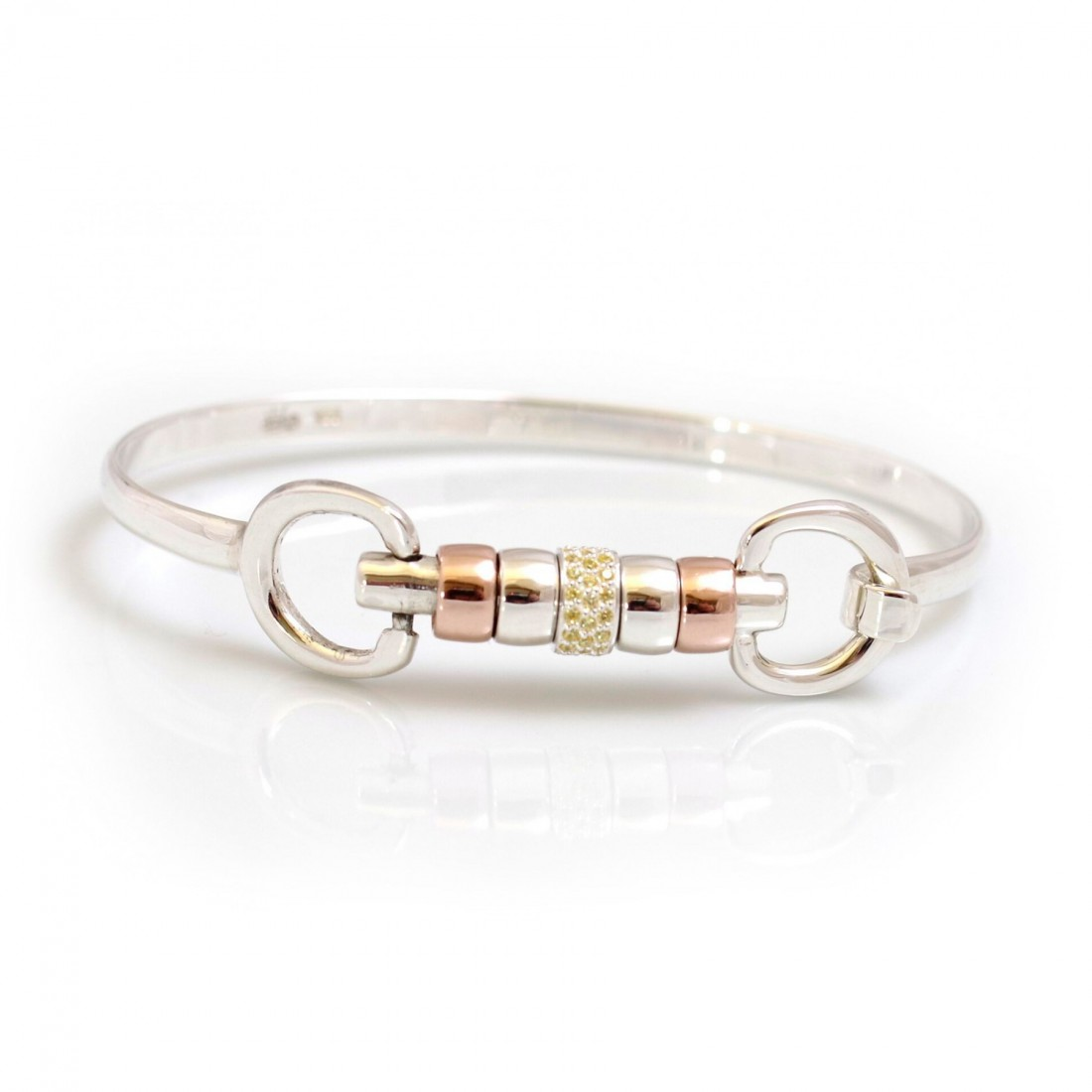 Exclusive Sterling Silver & 18ct Rose Gold Plate Cherry Roller Snaffle Bangle With Primrose Yellow CZ Starlight Roller Bead