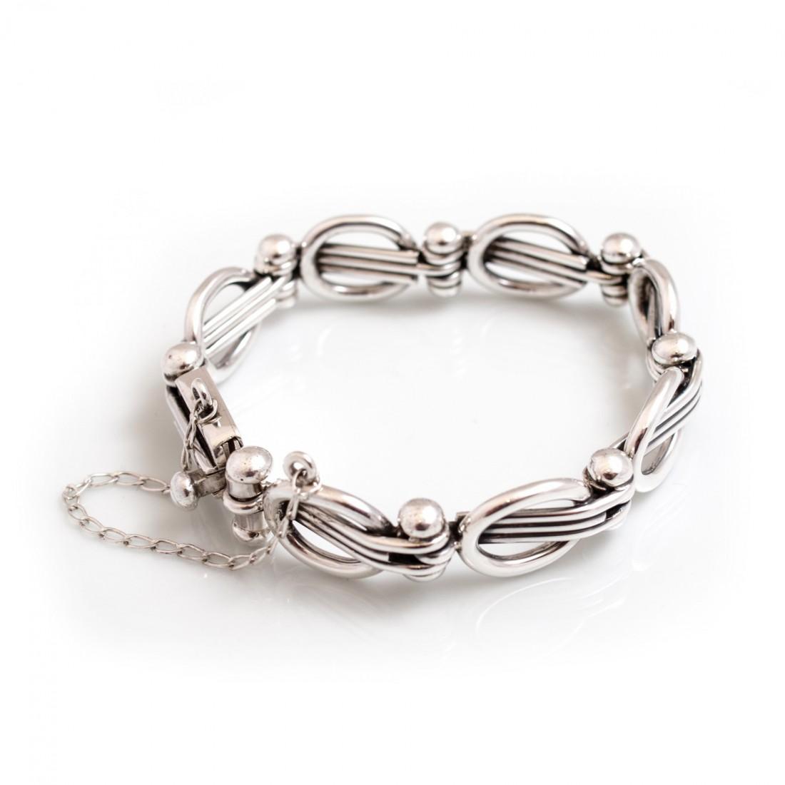Sterling Silver Circle Wave Bracelet
