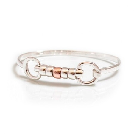 Exclusive Sterling Silver & Solid 9ct Rose Gold Cherry Roller Snaffle Bangle