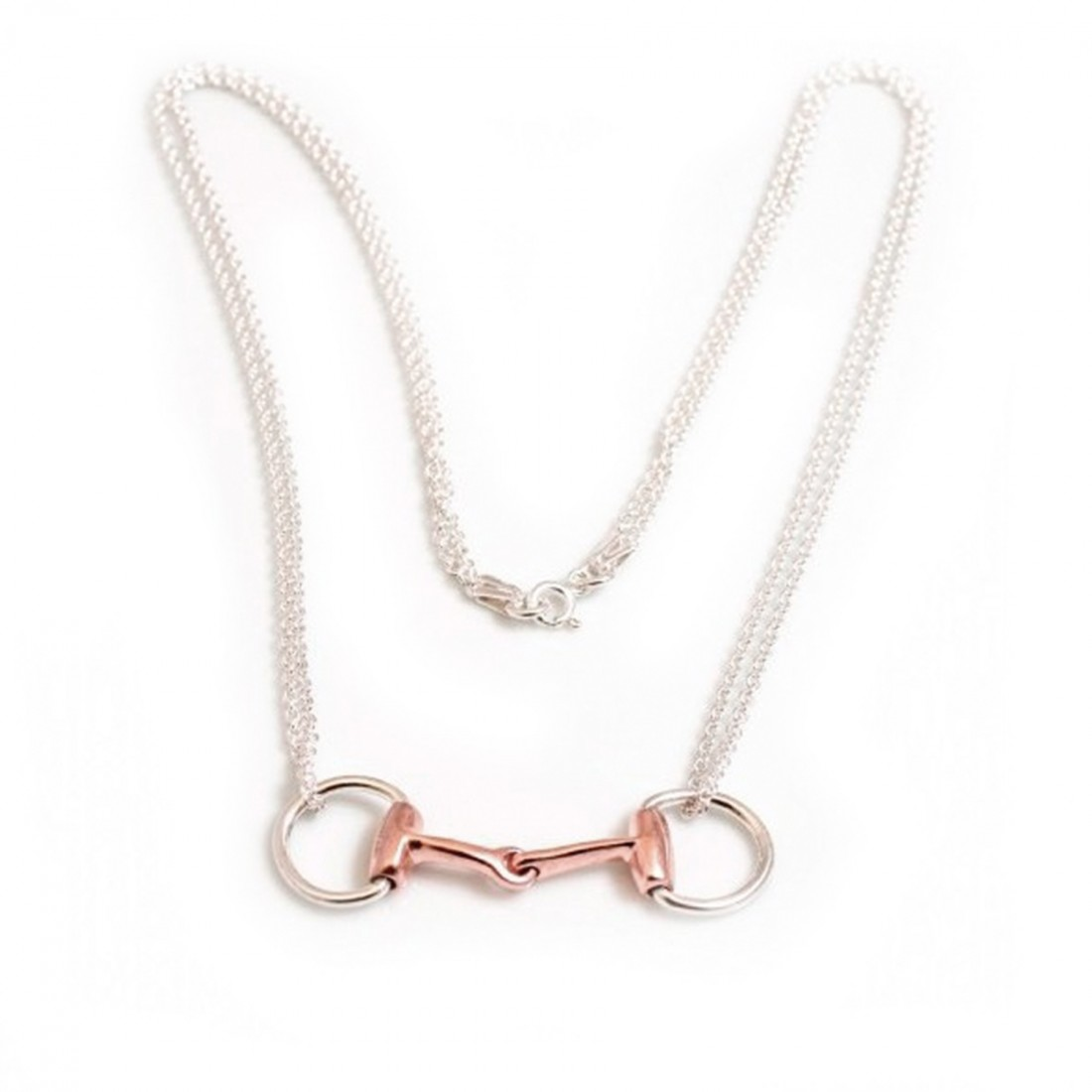 Sterling Silver & 18ct Rose Gold Plate Double Chained Snaffle Necklace