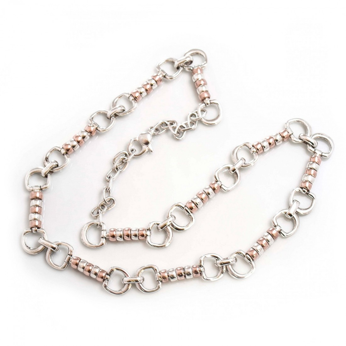Exclusive Sterling Silver And 18ct Rose Gold Vermeil Complete Cherry Roller Necklace