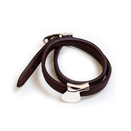 Sterling Silver Saddle Rider On Double Wrap Leather Bracelet