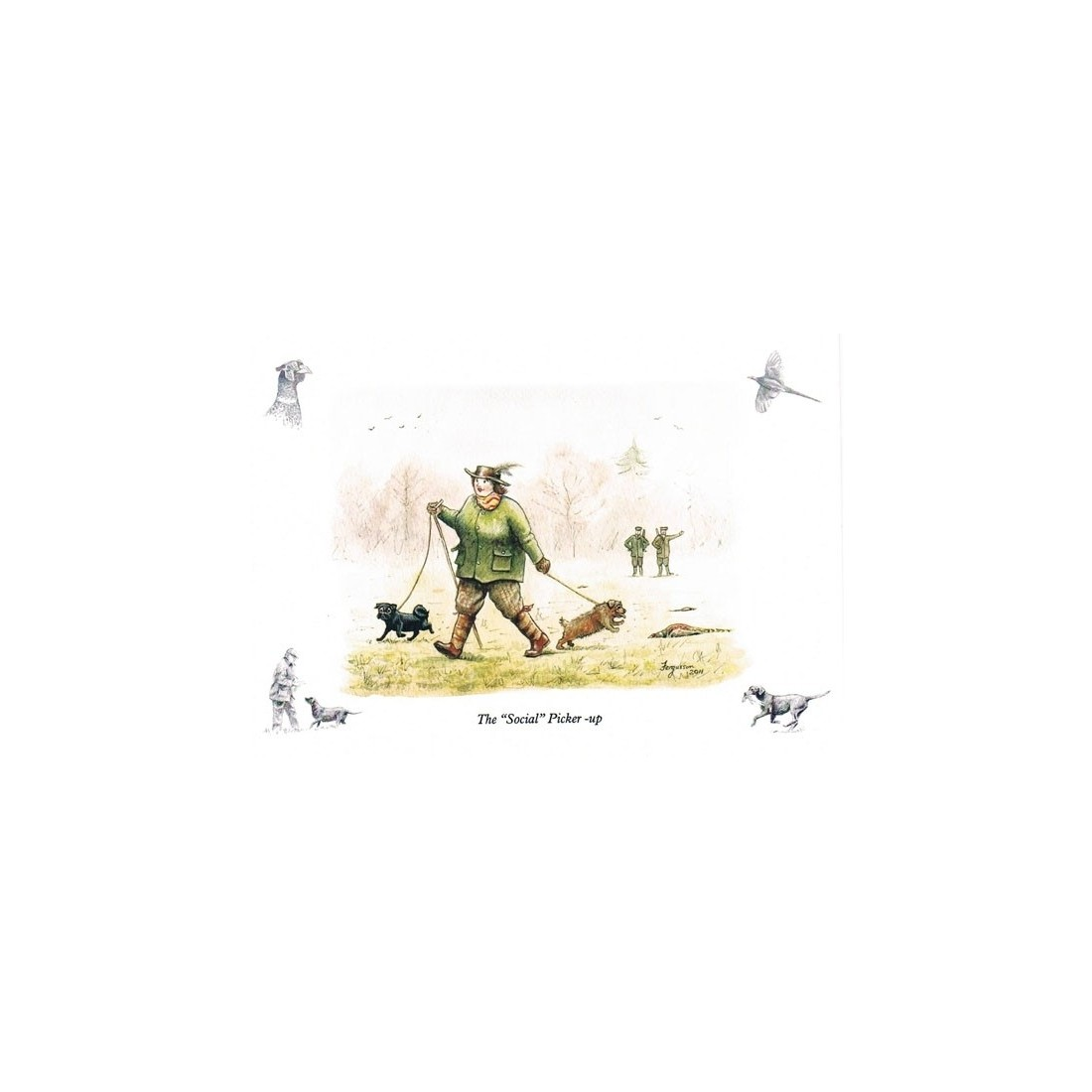 ''The Social Picker-Up'' - Fergusson Sporting Art Greeting Card - Country Greetings Card