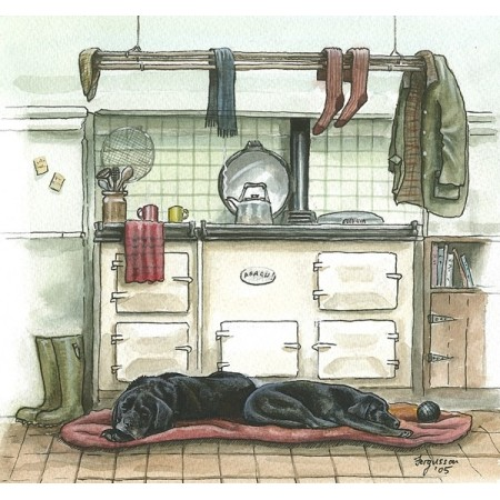 ''What Kitchens Are Really for...!'' - Fergusson Sporting Art Greeting Card - Country Greetings Card
