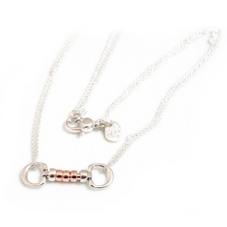 Exclusive Sterling Silver & Solid 9ct Rose Gold Cherry Roller Snaffle Necklace