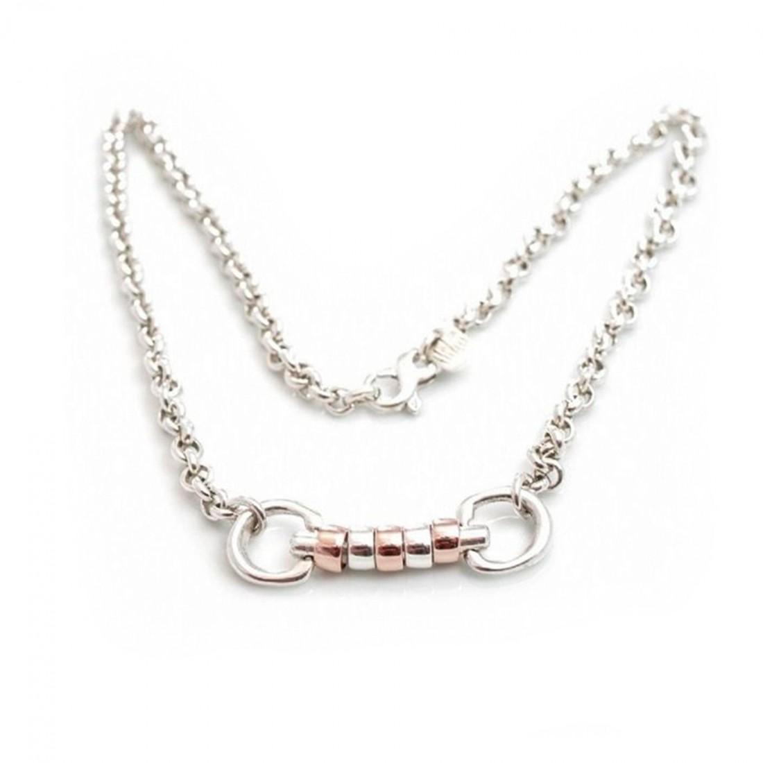 Exclusive Sterling Silver & 18ct Rose Gold Plate Classic Cherry Roller Snaffle Necklace
