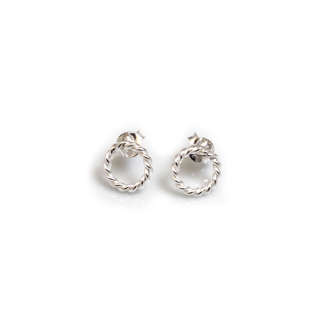 Sterling Silver Spiralled Hoop Stud Earrings