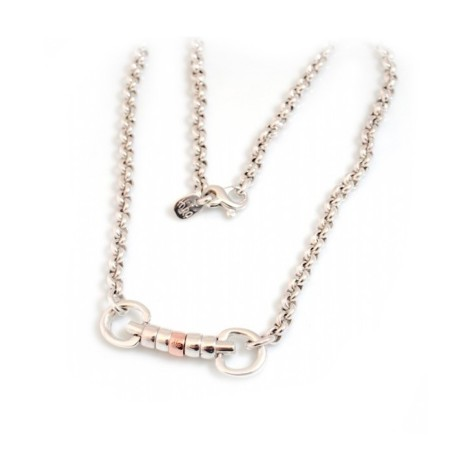 Exclusive Sterling Silver & 9ct Rose Gold Classic Cherry Roller Snaffle Fob Necklace