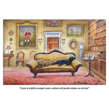 ''''A Pair of Artfully Arranged Scatter Cusions Will Greatly Enhance An Old Sofa'' - Fergusson Sporting Art Greeting Card