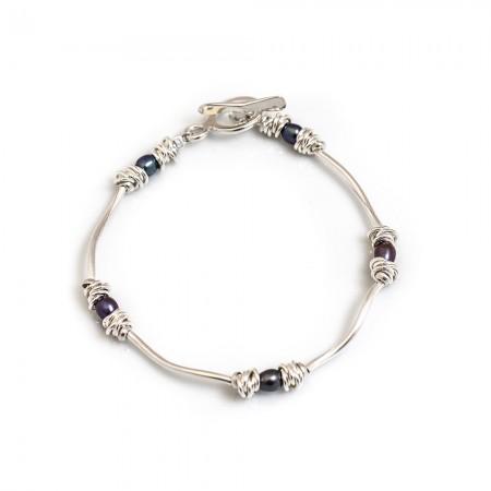 Sterling Silver Multi-link & Pearl Bracelet