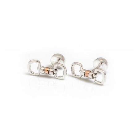 Exclusive Sterling Silver & 18ct Rose Gold Plate Cherry Roller Cufflinks